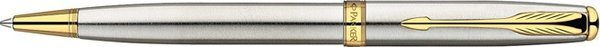 Parker Sonnet Twist Mechanism Ballpoint Pen Brushed Stainless Steel Gold Trim